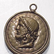 Brass and Copper Watch Fob with Image of Jesus