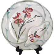 Longchamp Majolica Asparagus Plate French Country with Lovely Iris