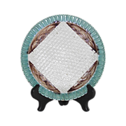 English Majolica Napkin Plate Basket Weave