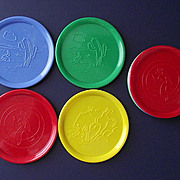 1950's Hard Plastic Coasters with Rodeo Cowboys and Bucking Broncos  Eight Piece