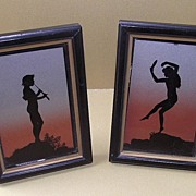 Framed German Reverse Painted Silhouette Nymphs 1930s