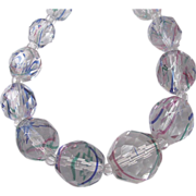 Art Deco Rainbow - Iris - Watermelon Glass Faceted Bead Necklace