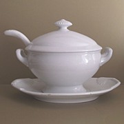 English White Ironstone Covered Sauce Tureen - Ladle & Under Platter