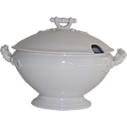 English White Ironstone Covered Sauce Tureen
