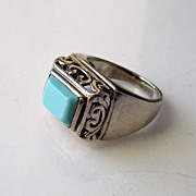 Sterling and Persian colorTurquoise sz 5.25 Ladies Ring