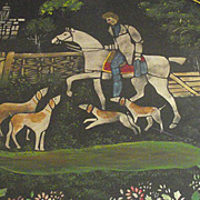 Circa 1900 Tole Tray Tray Hunting Scene with Stand
