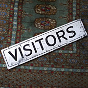 Black and White Wooden Painted �Visitors� Sign