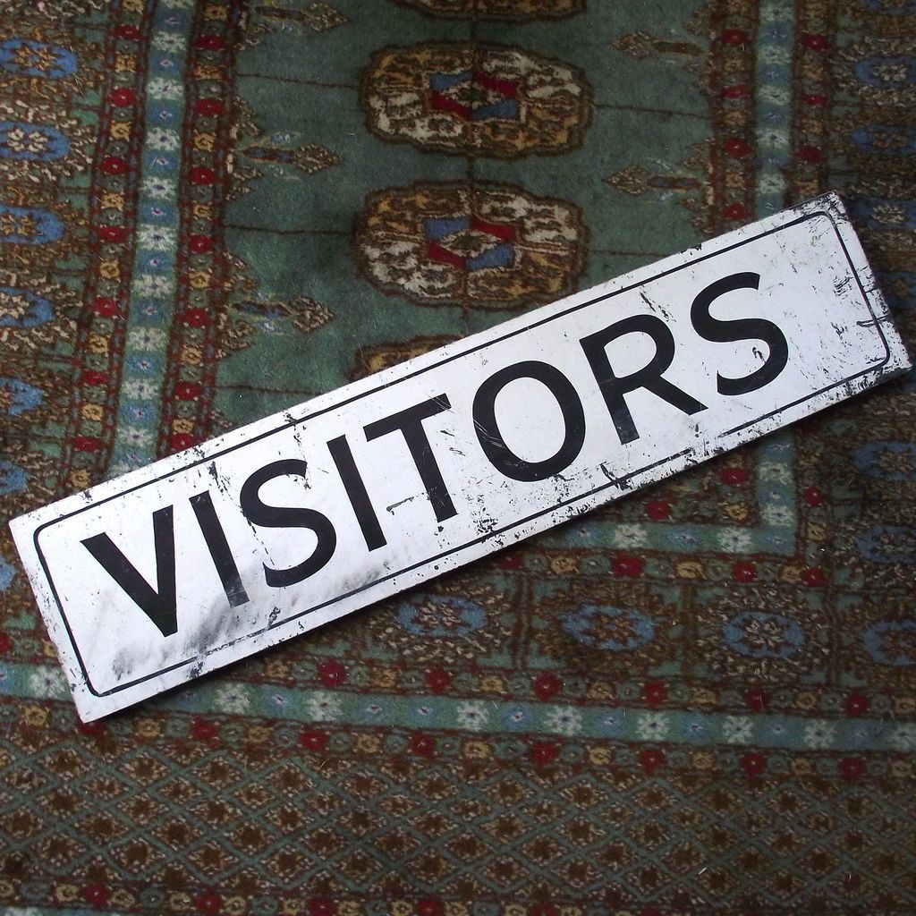 "Black and White Wooden Painted ""Visitors"" Sign"