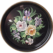 13 �� Round Hand Painted Floral Tole Tray Iris, Roses and Violets
