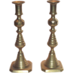 Early English Brass Push-Up Beehive Candlesticks
