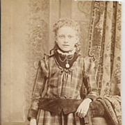 Real Photo Young Lay in Period Plaid Dress with Jewelry circa 1900