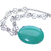 Art Deco Green Glass & Silver Tone Necklace