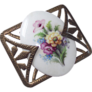 Circa 1930s Art Deco Brass and Porcelain Floral Brooch
