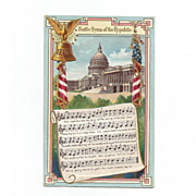 Embossed U.S.Capitol Building Flags Bell & EAgle Battle Hymn of the Republic Post Card