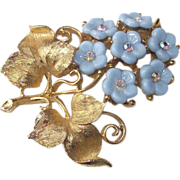 Thermoplastic Flowers Gold Tone Brooch circa 1950s