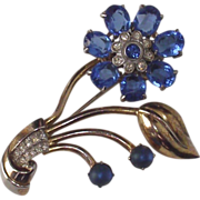 Corn Flower Blue Floral Brooch   A 1950s Beauty