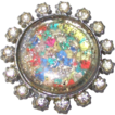 1920s Clear Paste Stone with Confetti Center Brooch