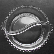 Imperial Candlewick Clear Glass 2 Part Relish Dish Bowl Round