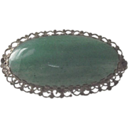 1920s Costume Brooch Silver Bezel with Green Crystophase