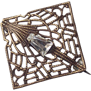 Square Fretwork with Clear Paste stone Brooch Circa 1920s