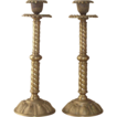 Fantastic Brass Candlesticks  Twisted Shafts and Sea Shells on Base