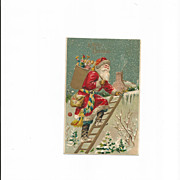 Belsnickle  Santa with Great Sash Climbing Ladder to the Chimney Embossed Card