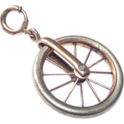 Unicycle Fob Charm Victorian Era Large Gold and Silver Tone