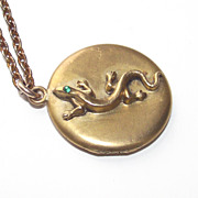 Victorian Gold Filled Locket with Lizard in Relief & Green Paste Stone Eye