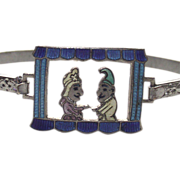 Childs Punch and Judy Enameled Bangle Bracelet