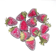 12 Piece Strawberries Circa 1960s  with Clear Beading