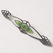 Green and White Guilloche Enamel Brooch