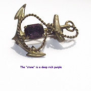 Anchor Brooch with Deep  Purple Glass Stone circa 1900