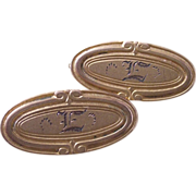 Tiny Pair of Oval Engraved  E  Victorian Beauty Bar Pins