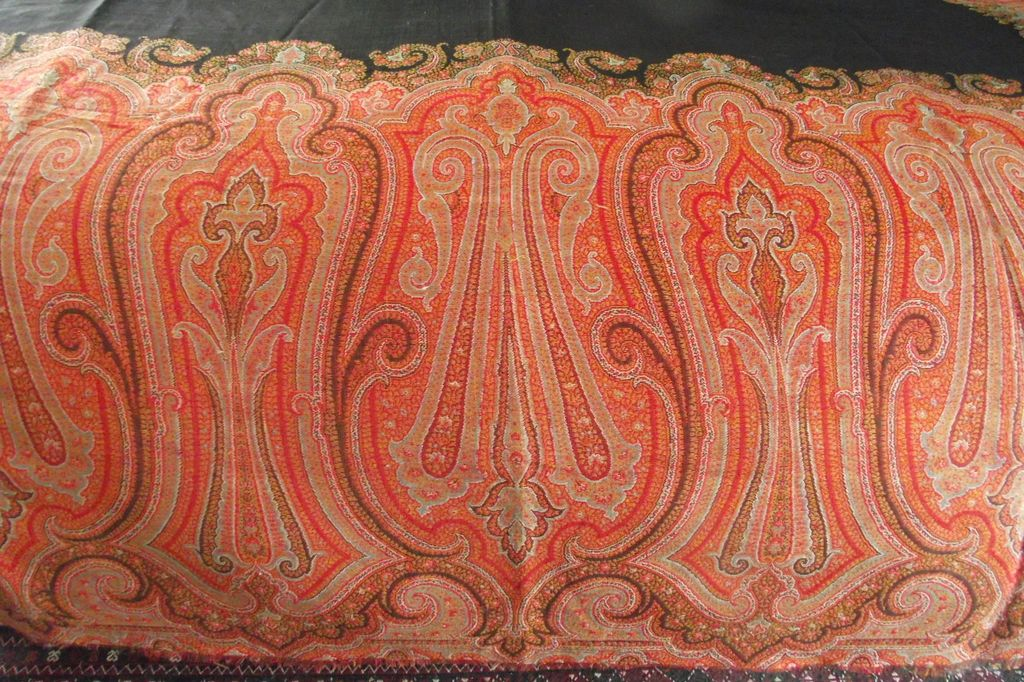 Scottish Paisley Shawl Large Black Center circa 1860s - 1870s
