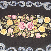 Black and Floral Wool Hooked Rug