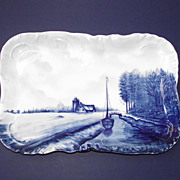 Crown Rosenthal Blue Delft Tray Canal � Sailboat - Cottage  c.1899