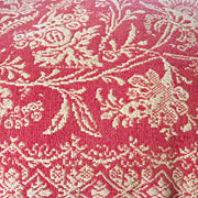 American Jacquard Coverlet Coral and Cream Double Dated 1829 � 1856