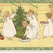 Signed P. Ebner - M. Munk -Beautiful Winged Children Decorating the Christmas Tree Post Card