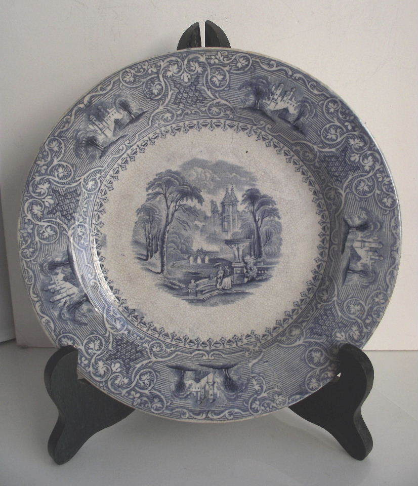 Wedgwood Light Blue Transfer 8&quot; Plate Circa 1860s
