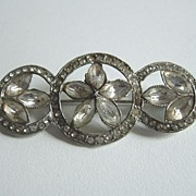 1920�s Paste Stone Three Circles Bar Pin Brooch