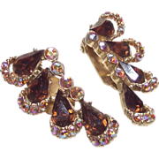 Cognac & Aurora Borealis Rhinestone Fan Shape Clip Earrings circa 1950s