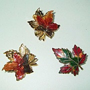 Enameled Maple Leaf Brooch and Earrings Demi Parure