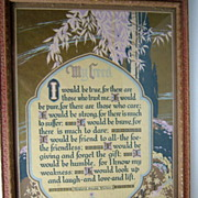 1920's Framed �My Creed�  Signed Motto Print