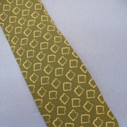 GIORGIO ARMANI Sage Khaki Abstract Geometric Print Silk Tie