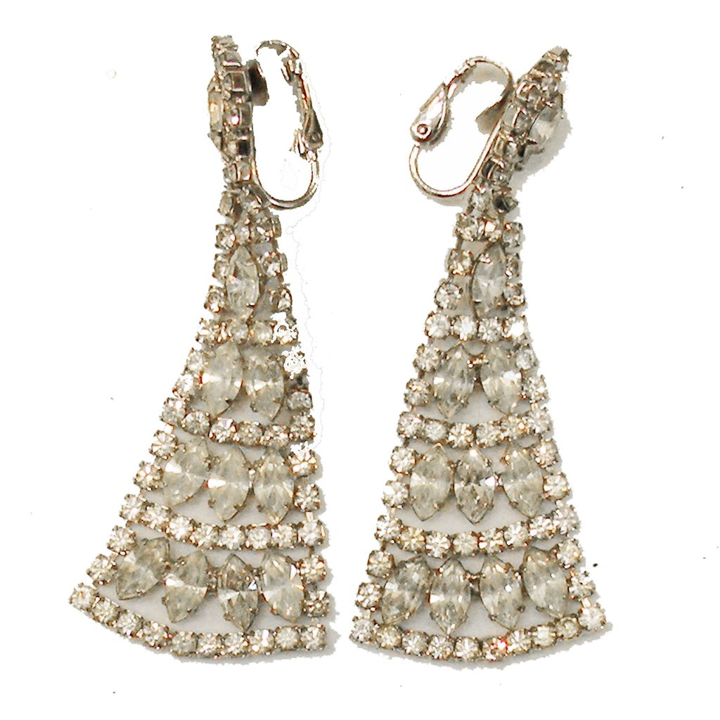 Magnificent Clear Rhinestone Egyptian Revival Drop Earrings