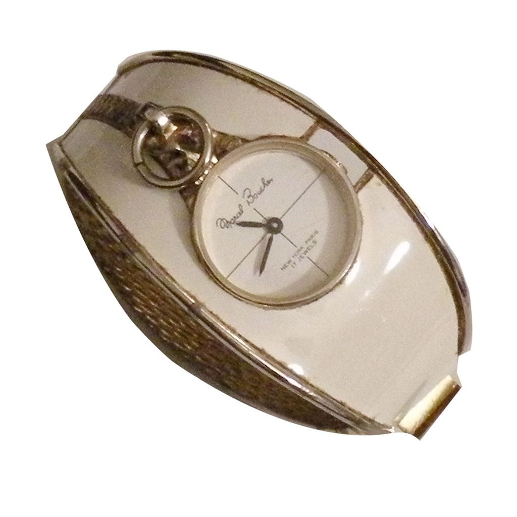 MARCEL BOUCHER Cream Enamel Hinged Clamper Cuff Watch Bracelet