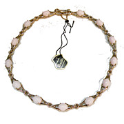 PANETTA Pale Coral Colored and Gold Tone Tagged Necklace