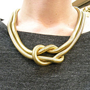 Dramatic Double Coil Pretzel Knotted Gas Pipe Snake Chain Necklace