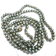 Dusty Aqua Shiny Dull Glass Imitation Pearl Very Long Sautoir Necklace