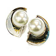 TRIFARI Half Moon and Imitation Grey Pearl Earrings